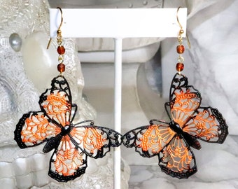 Victorian Monarch Butterfly Earrings - Statement Earrings - Insect Jewelry - Nature Earrings - Day of the Dead Butterfly Jewelry