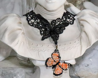 Gothic Lace Monarch Butterfly Choker - Butterfly Necklace -  Victorian Lace Choker - Nature Jewelry - Insect Necklace - Day of the Dead