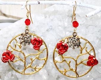 Spider Web Red Rose - Hoop Earrings - Spider Earrings - Gothic Earrings