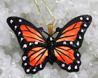 Monarch Butterfly Necklace - Painted Butterfly Pendant - 18K Gold Plated Sterling Silver Chain - Insect Jewelry - Nature Jewelry