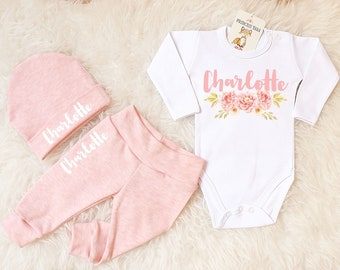 18b39f566de5 Baby Girl Coming Home Outfit. Girl Going Home Set. Heather Peach Baby Girl  Clothes. Personalized Baby Outfit. Heather Rose Newborn Girl.