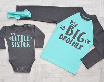 Big Brother Little Sister Shirts. Big Brother Shirt & Little Sister Bodysuit and Headband Set. Sibling Shirts. Matching Sister Brother Gift.