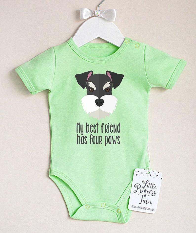 Dog Baby Clothes Baby Boy or Girl Bodysuit with Schnauzer Puppy Print Infant Baby Romper Gender Neutral Baby Shower Gift.