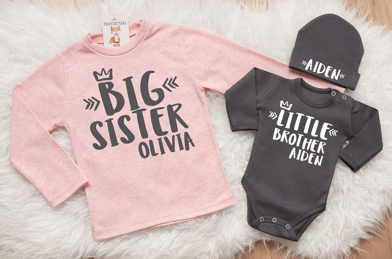 f375556d63db Personalized Big Sister Little Brother Matching Set. Little | Etsy