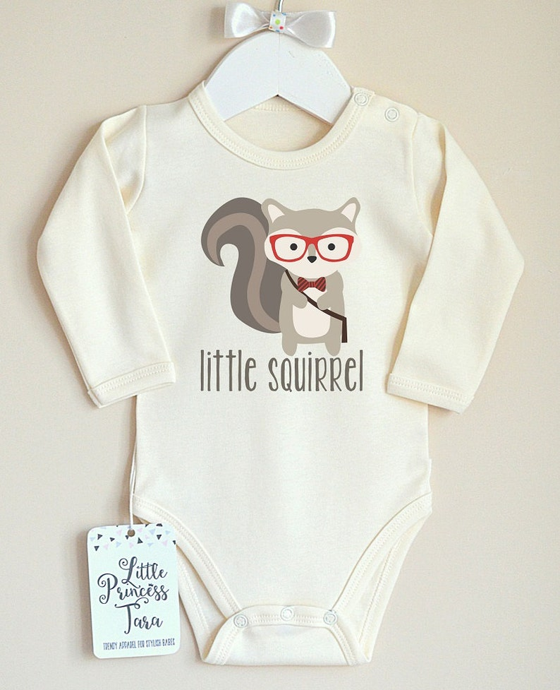 4b02175b9 Cute Baby Outfit. Hipster Squirrel Baby Clothes. Baby Boy or