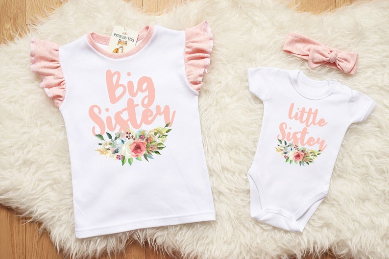 34011fac43ab9 Big Sister Little Sister. Cute Matching Sisters Outfit. Little Sister Take  Home Outfit. Floral Sister Shirt. Sister Gift For Baby Shower.