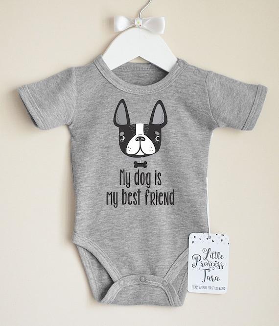 I Love My Boston Terrier Dog Funny One Piece Bodysuit Shirt