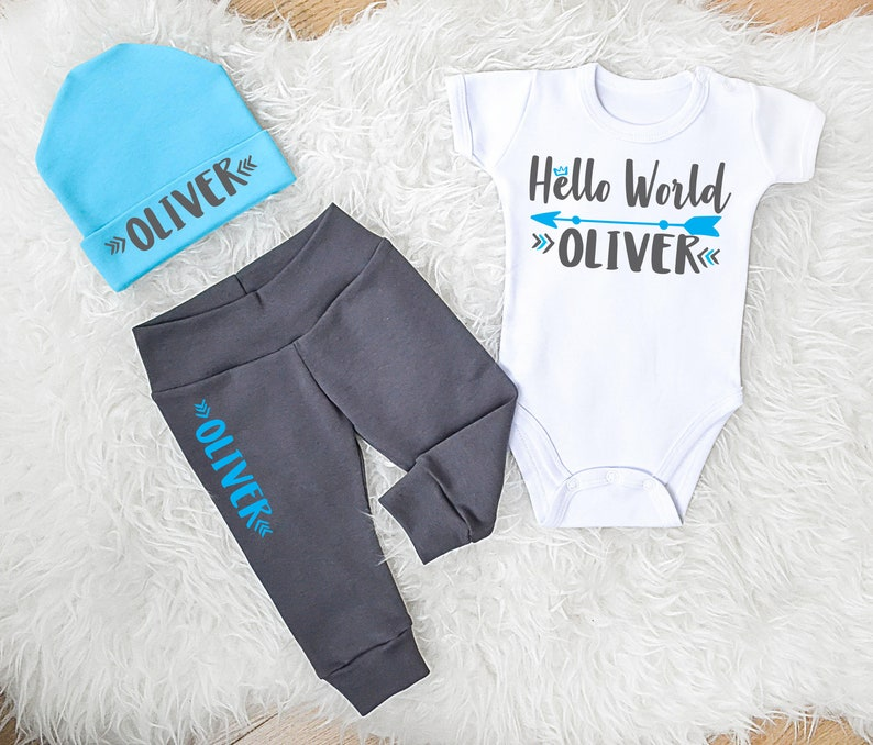 e6e6ca6d0 Baby Boy Coming Home Outfit. Personalized Hello World Baby Boy | Etsy