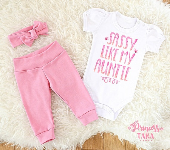 Infant Shirt Baby Shower Gift Baby Girl Outfit Baby Girl Coming Home Bodysuit Auntie/'s Girl Sassy Like My Auntie Coming Home Baby Girl