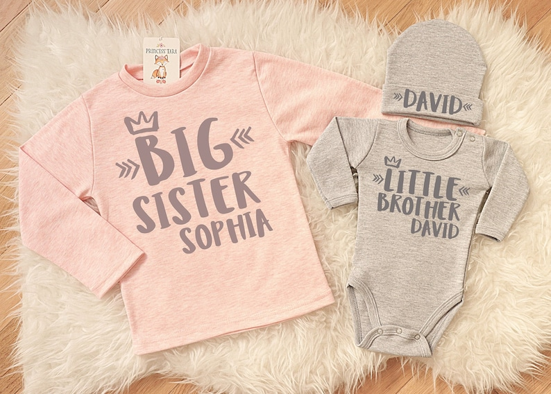 800ec2730228 Big Sister Little Brother Matching Set. Personalized Sibling | Etsy