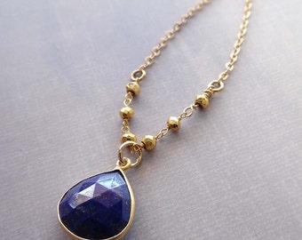 Lapis Lazuli Necklace / Gold Natural Lapis Heart /Lapis Gold Pyrite Necklace / Dark Blue Stone Necklace / BE23