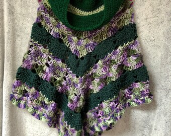 Womens Handmade Lace Crochet Poncho- Green and Purple with Cowl neck