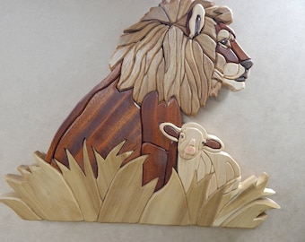 Lion and Lamb, Wood Intarsia Wall hanging Handcrafted Scroll Saw Art