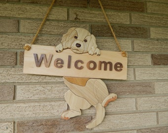 Puppy Welcome Sign Wood Intarsia Handcrafted Wall Hanging