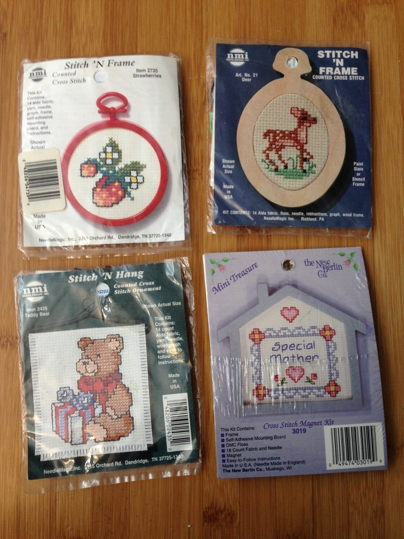 Stitch n Frame Inc and The New Berlin Company Lot #1 of vintage cross stitch kits Needle Magic FREE SHIPPING