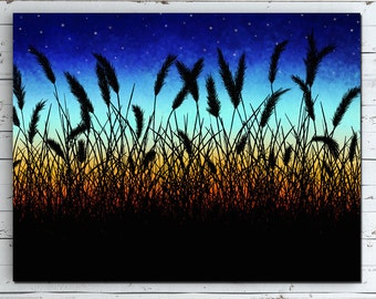 Sunset Landscape Canvas, Sunset Landscape Painting, Landscape Sunset Art Print, Country Landscape Painting, Wheat Field Art Print