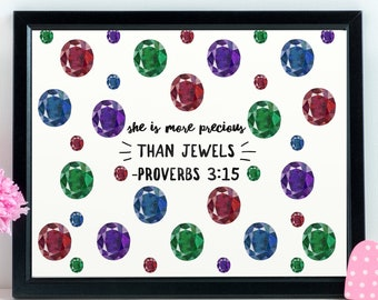 Bible Verse Nursery Art, Scripture Nursery Print, Bible Verse Nursery Decor, Scripture Nursery Art, She Is More Precious Than Jewels
