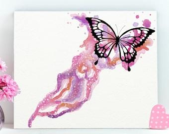Pink Butterfly Print, Butterfly Art Canvas, Watercolor Butterfly Art, Butterfly Wall Art Decor, Butterfly Art Gift,Butterfly Tabletop Canvas