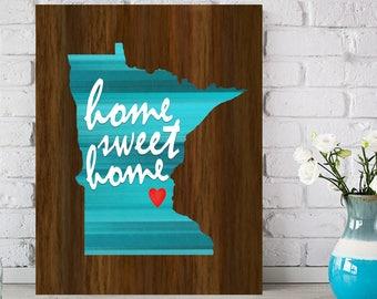 Minnesota Canvas, State Canvas Art, USA State Gift, Minnesota Wall Art, USA State Art, State Home Wall Art, Minnesota Home Sweet Home