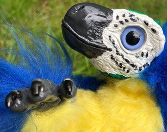 Blue and Yellow Macaw Raptor -- Posable Art Doll