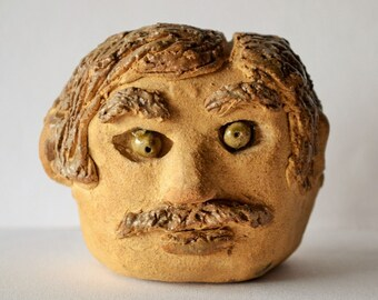Vintage Ceramic Clay Man's Head with a Mustache, Signed