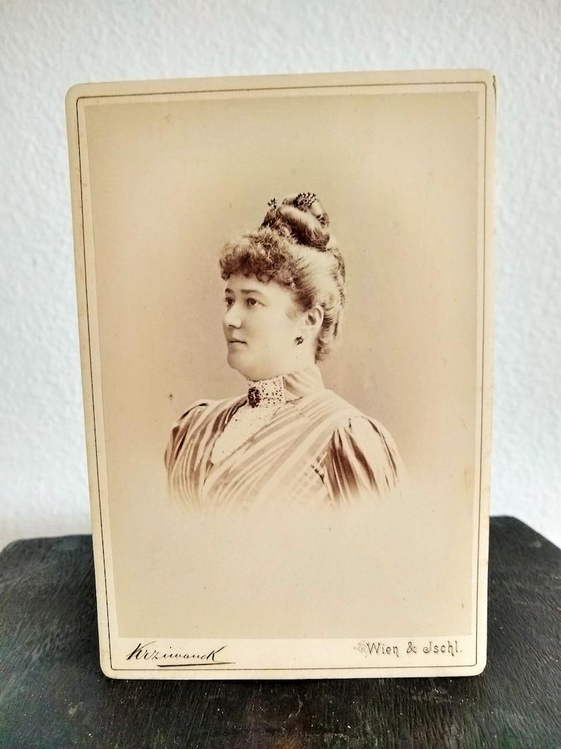 Antique European Cabinet Card Sepia Tone Portrait of a Woman Rudolph Krziwanek Studio in Austria