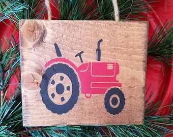 Christmas Ornament - Tractor - Wooden Sign - Country - Red Tractor