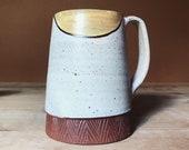 Ceramic Mug - Geometric Pattern - Yellow and Off White - Pottery by Osa