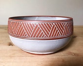 Ceramic Bowl - Serving Bowl - Geometric Pattern - Southwestern - Pottery by Osa