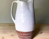 Ceramic Pitcher (Made to Order) - Handmade Terracotta and White - Pottery by Osa - Natural Modern Minimal Simple Ethnic Boho