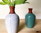 Small Ceramic Vase (Made to Order) - Terracotta Bud Vase - Red Clay - Geometric Pattern - Pottery by Osa
