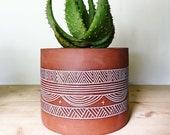 Terracotta Planter - Flower Pot - Geometric Pattern - Pottery by Osa