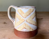 Ceramic Mug - Off-White and Yellow on Red Clay - Geometric Pattern - Pottery by Osa