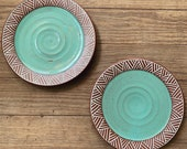 Pair of Ceramic Plates - Salad or Dessert Plates - Geometric Pattern - Pottery by Osa