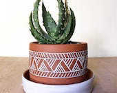 Terracotta Planter (Made to Order) - Plant Pot - Carved Geometric Pattern  - Southwestern - Pottery by Osa - Modern Tribal Ethnic Minimal