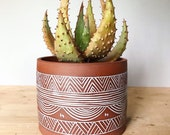 Terracotta Planter (Made to Order) - Flower Pot - Geometric Pattern - Pottery by Osa