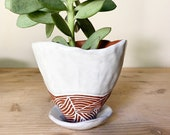 Ceramic Planter - Pinched Pottery - White and Terracotta - Pottery by Osa