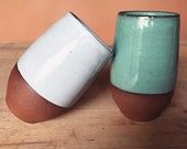Pair of Ceramic Cups (Made to Order) - Terracotta Tumblers - Handmade Pottery - Simple Minimal Modern - Pottery by Osa