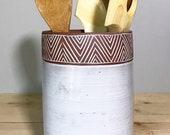Ceramic Utensil Holder (Made to Order) - Kitchen Storage - Modern Minimal Simple Southwest Pottery by Osa
