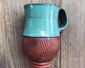 Ceramic Mug (Made to Order) - Terracotta Coffee Cup - Red Clay Geometric - Pottery by Osa