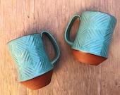 Ceramic Mug (Made to Order) - Carved Terracotta Jumbo Mug - Red Clay Mug - Modern Handmade - Pottery by Osa