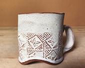 Off-White Quilt Pattern Ceramic Mug