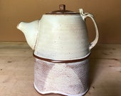 Ceramic Teapot - Rustic Off White - Geometric Pattern - Pottery by Osa