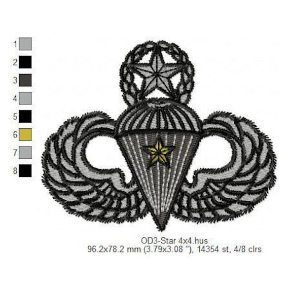 Us Army Ranger Parachute With Star Design Embroidery Files For