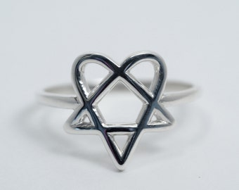 Heartagram etsy him ring heartagram ring star heart ring band logo ring size 5 13 aloadofball Image collections