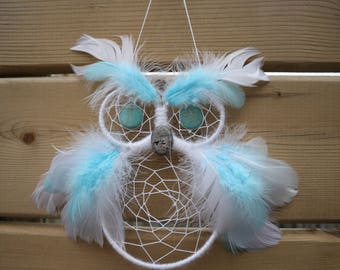 Blue and White Owl Dreamcatcher with Gemstone Eyes and Beak