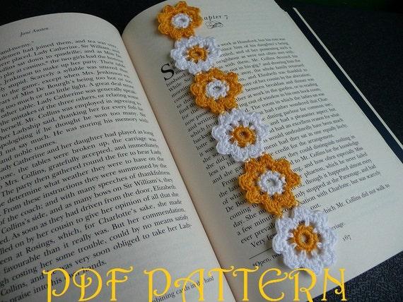 Crochet Flower Bookmark Pdf Pattern Etsy