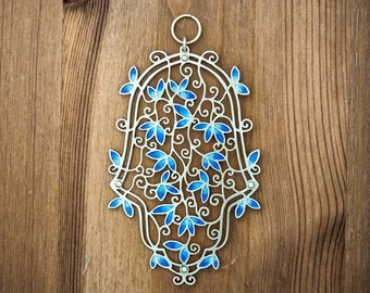 Made In Israel Hamsa Orient Wall Hanging Art Judaica Handmade Bat Mitzva Gift Jewish Blue
