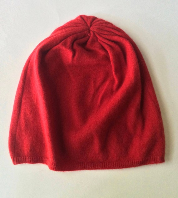 b2ff756ba Cashmere Slouchy Beanie - Made from an Upcycled Cashmere Sweater - Upcycled  Slouch Hat - Recycled Cashmere Hat - Bright Red - Adult XL