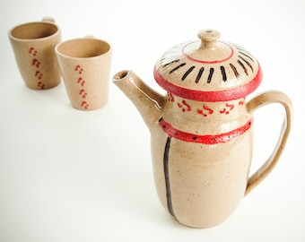 Ceramic hand painted teapot with 2 cups, Series: tea for two (No. N-te-7)